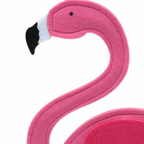 Summer decoration flamingo standing felt pink 28 × H58cm