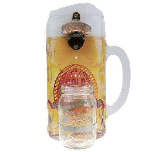 Wall bottle opener with container 30cm x 18cm