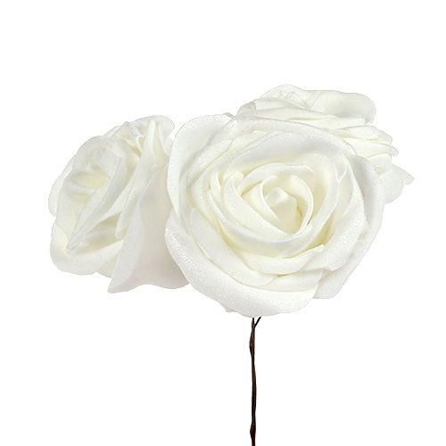 Foam Rose White with mother of pearl Ø7,5cm 12pcs