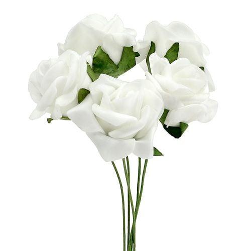Foam Rose Ø 3.5cm white 48pcs