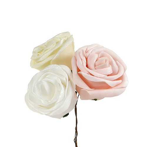 Foam roses mix Ø6cm white, cream, pink mother-of-pearl 24pcs