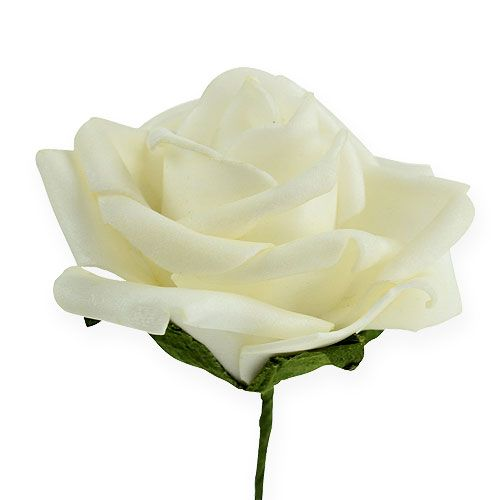 Foam-Rose Ø6cm cream 27pcs