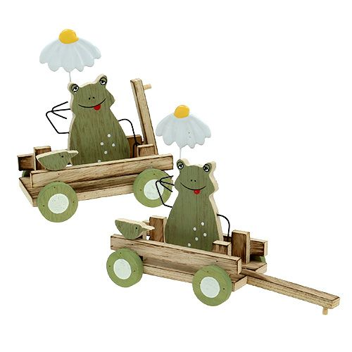 Frog in cart Natural color, green 19x7x14cm 4pcs
