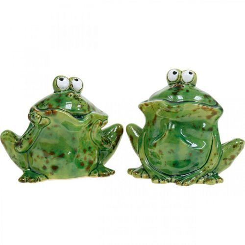Frog couple, ceramic decoration, decorative frog, sitting frogs