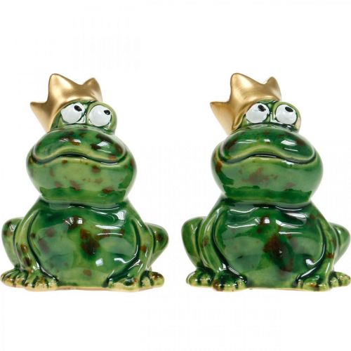Decorative frog, frog prince, spring decoration, frog with gold crown 2pcs