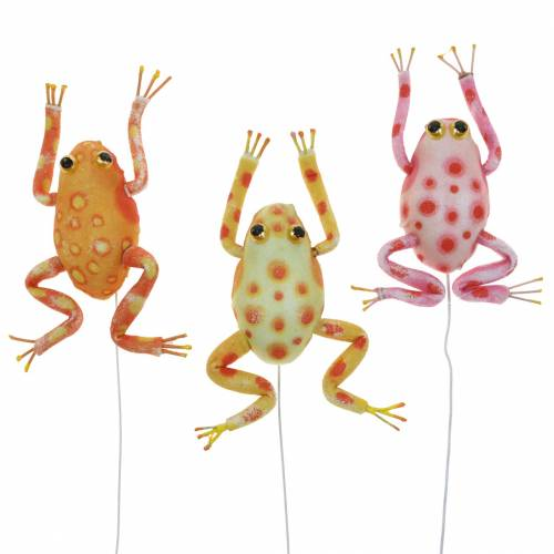 Decorative frogs with dots and wire 7.5cm 3 pieces sorted