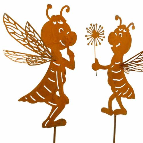 Garden plug bee stainless steel garden decoration spring decoration 2pcs