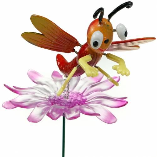 Garden plug dragonfly on flower with metal spring orange, pink H74cm