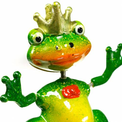 Garden plug frog king with metal spring green, yellow, golden H68.5cm