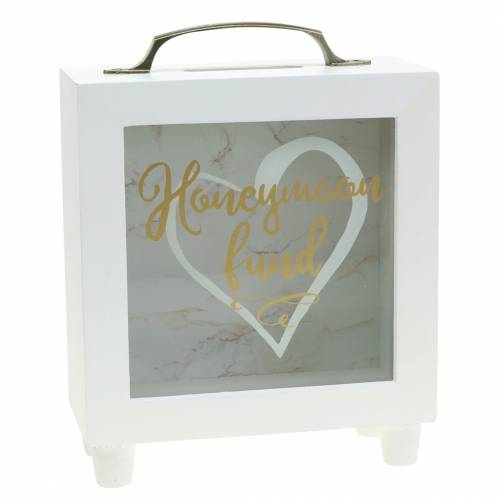 "Wedding money box ""Honeymoon Fund"" wood with glass front white H15m"