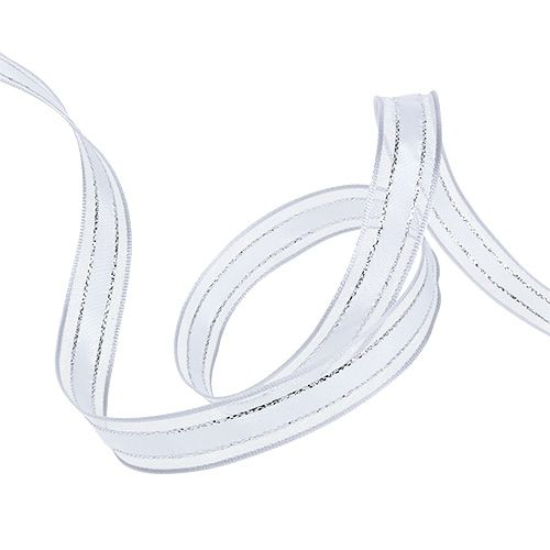 Gift ribbon with wire edge White 15mm 20m