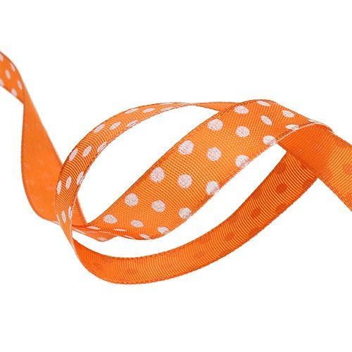 Gift ribbon with dots orange 15mm 20m