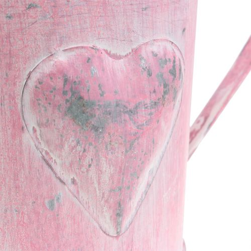 Planter watering can with heart pink, white washed Ø12.5cm H13cm