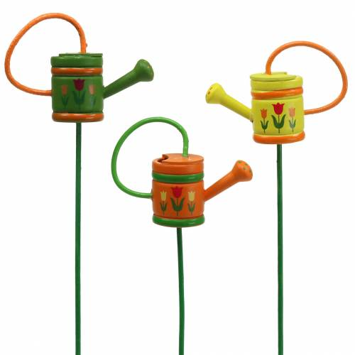 Flower plug watering can wood green, yellow, orange assorted 7.5cm x 5.9cm H30.5cm 12pcs