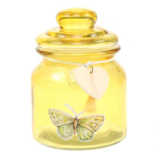 Glass jar Bonboniere yellow Ø11cm H15,5cm