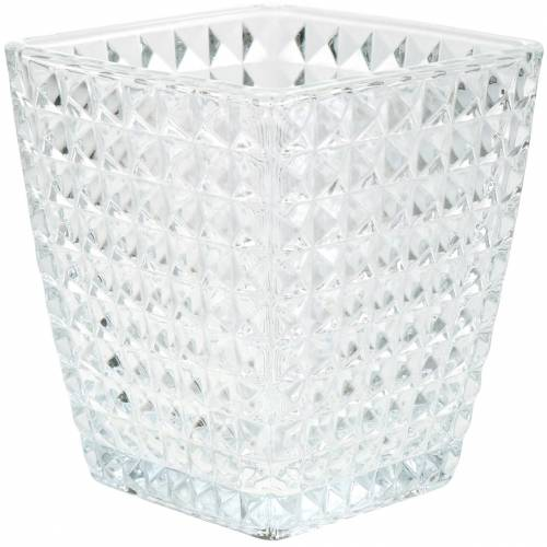 Glass lantern cube facetted pattern, table decoration, vase made of glass, glass decoration 2pcs