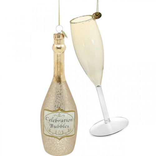Champagne bottle and glass, tree decorations, anniversary, glass decoration to hang, New Year's Eve H14.5cm real glass set of 2