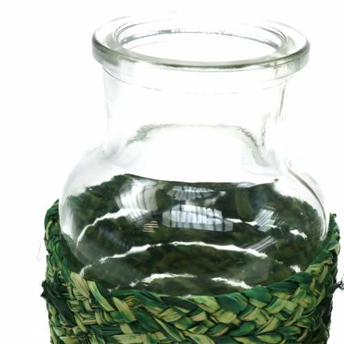 Glass bottle with bast green H12.5cm 3pcs