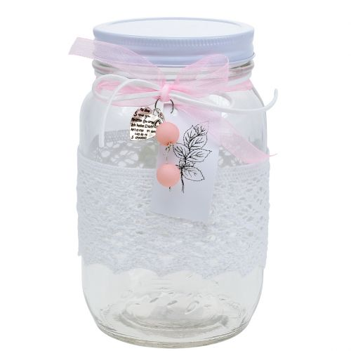 Glass jar with lid and top Ø10cm H17cm