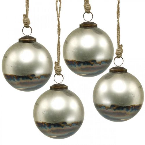 Christmas balls two-colored glass ball blue, metallic Ø9.5cm 4pcs