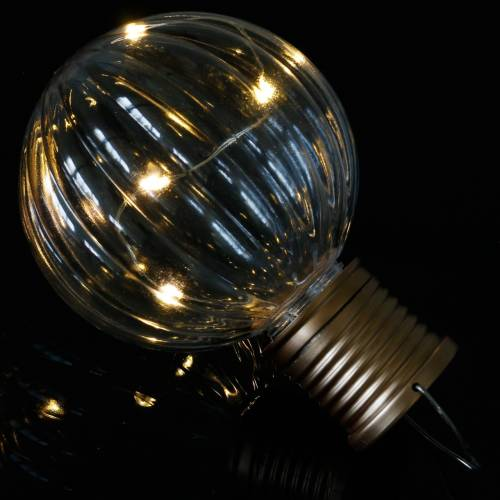 Solar LED lamp retro look transparent warm white Ø8cm