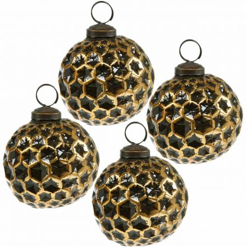 Christmas ball honeycomb pattern brown, golden Ø7.5cm 4pcs