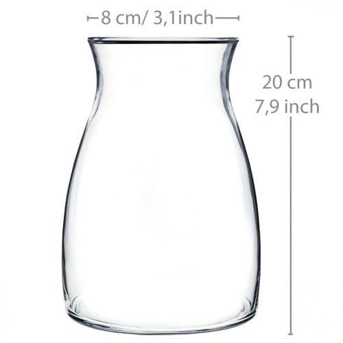 Decorative glass vase clear flower vase glass Ø11cm H20cm