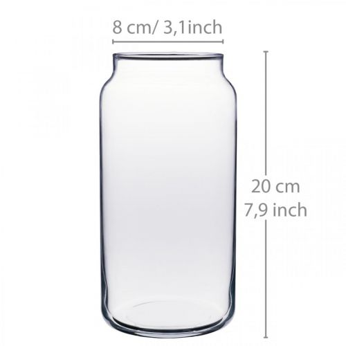 Flower vase glass clear glass vase table decoration Ø8cm H20cm