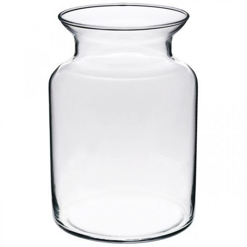 Glass flower vase wide clear Ø12cm H20cm