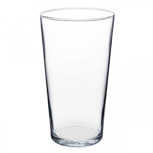 Glass vase conical clear Ø14cm H25cm