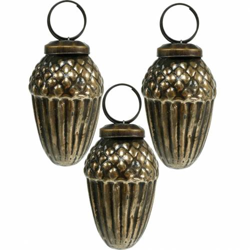 Christmas tree decorations glass acorns to hang brown, golden 6cm 3pcs