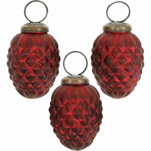 Tree decorations cones red real glass 6cm 3pcs