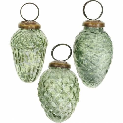 Tree decorations autumn fruits transparent, green real glass 6.5cm 3pcs