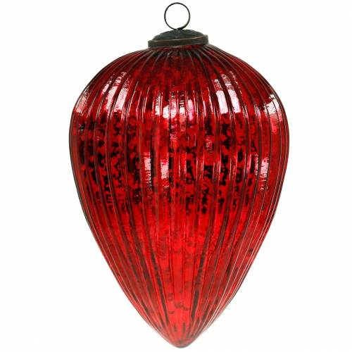 Glass cones for hanging red 22cm large Christmas decorations