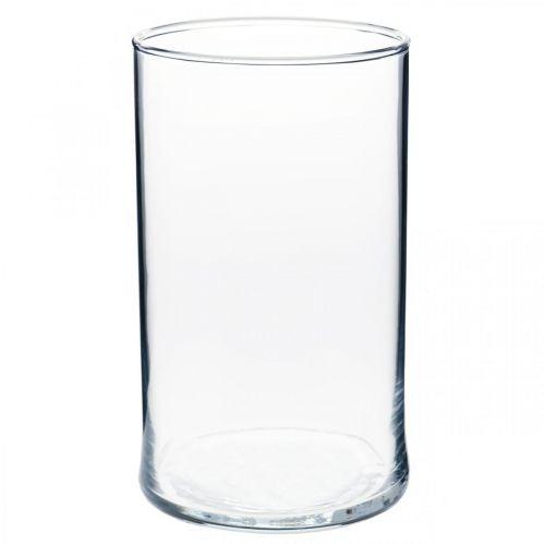 Clear glass vase cylindrical Ø12cm H20cm
