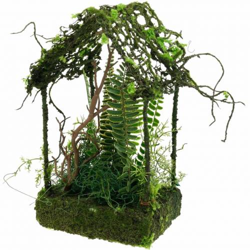 Moss decoration grass house house with artificial moss and fern
