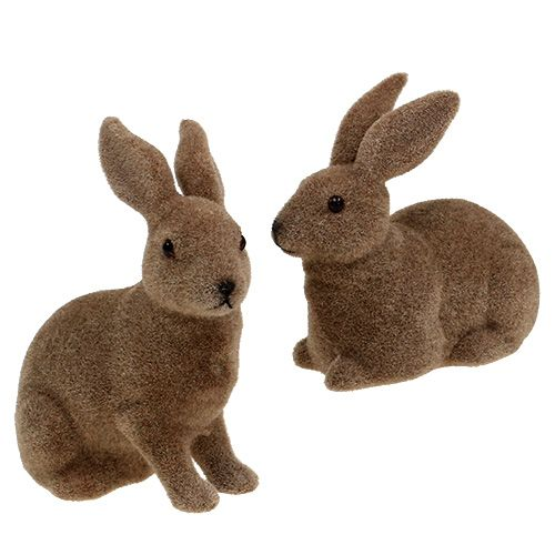 Bunny flocked brown 11cm, 13.5cm 6pcs