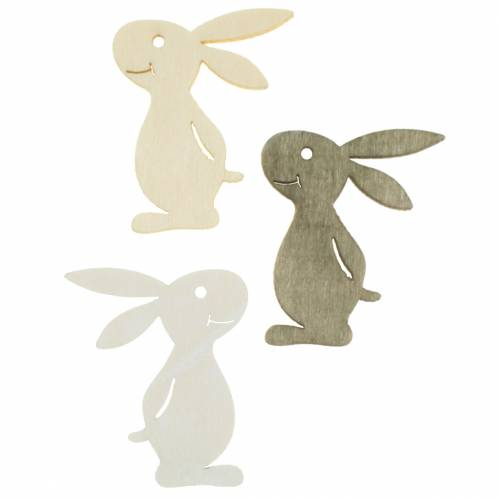 Scattered bunny wood white, cream, brown assorted 4cm 72p
