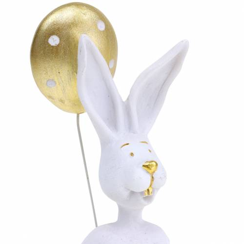 Rabbit with Balloon Sitting White, Gold H13.5cm 2pcs