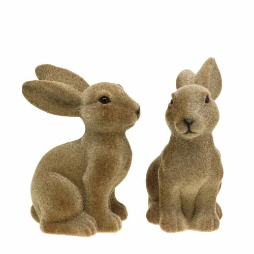 Easter bunny sitting flocked brown H19cm 2pcs