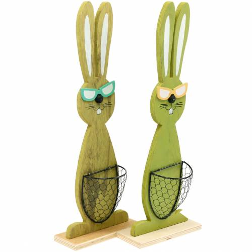 Easter bunnies with basket green, spring, decorative planting basket, Easter decoration wooden bunny 2pcs