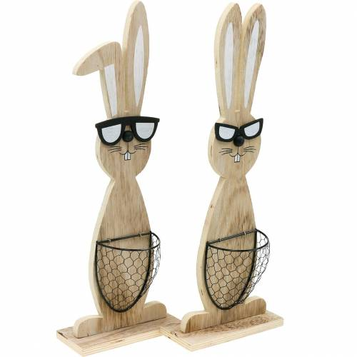Wooden bunnies with sunglasses and basket nature, Easter decoration, rabbit figure with plant basket, spring decoration 2pcs