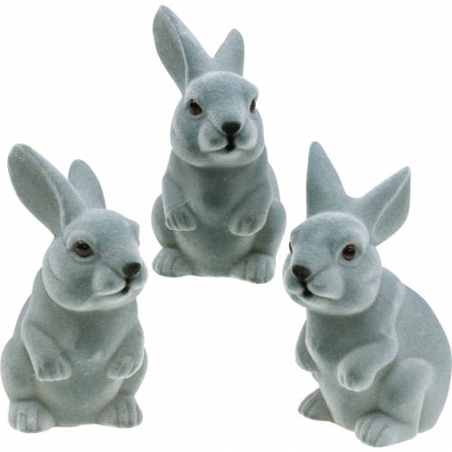 Easter bunny sitting upright, decoration figure bunny flocked, Easter decoration 3pcs