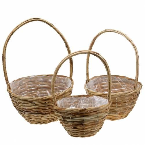 Handle basket made of willow Ø30cm, natural gift basket, set of 3