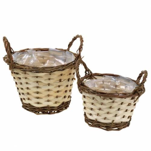 Planter Easter basket with handles round cream, brown Ø15 / 18cm, set of 2