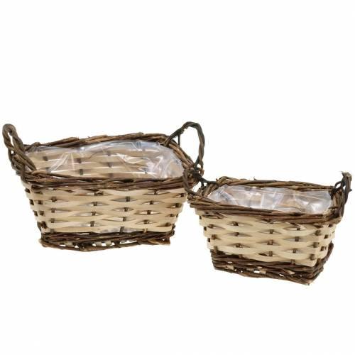 Planter, decorative basket, square, natural colors 21 × 16/16 × 13cm, set of 2
