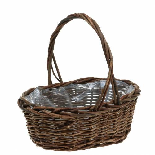 Handle basket oval wood natural 27 × 20cm H27cm