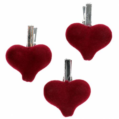 Deco heart with clamp red 2,5cm 8pcs