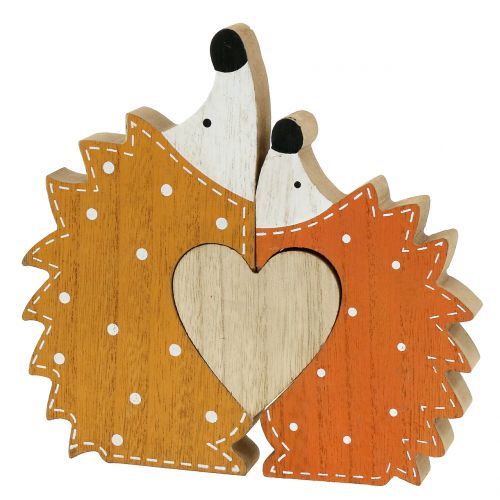Autumn decoration hedgehog pair with heart 15cm - 18cm