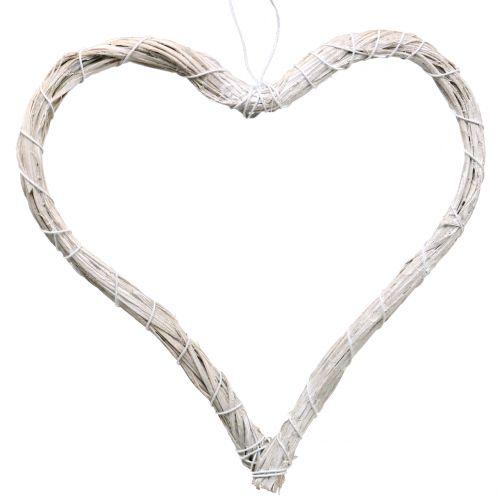 Bast heart to hang white 20cm 6pcs